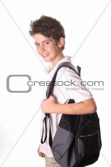 shot of a school boy with book bag