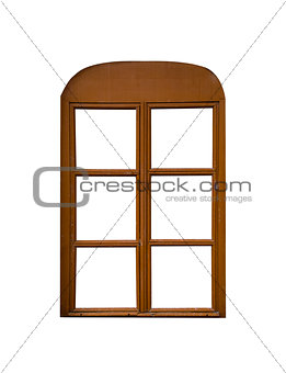 Aged wooden window isolated on white background