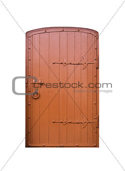 Old vintage wooden door on white background