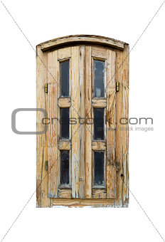 Aged wooden window shutters isolated on white background