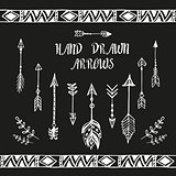 Hand drawn arrows set. Vector illustration