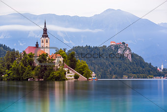 Catholic Church on Island and Bled Castle on Bled Lake