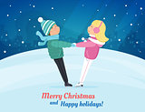 Two cute children skating at ice rink. Christmas card.
