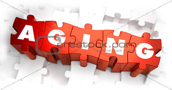 Aging - White Word on Red Puzzles.