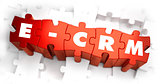 Word - E-CRM on Red Puzzle.