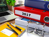 Red Ring Binder with Inscription 2017