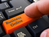 Press Button Business Online on Black Keyboard.