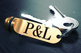 P and L - Bunch of Keys with Text on Golden Keychain.