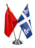 China and Martinique - Miniature Flags.