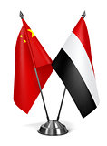 China and Yemen - Miniature Flags.