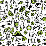Fishing seamless pattern, sketch for your design
