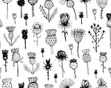 Agrimony plants seamless pattern, sketch for your design