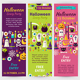 Halloween Party Holiday Vector Invitation Template Flyer Set