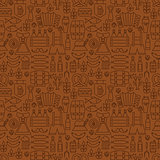 Thin Alcohol Beer Line Oktoberfest Seamless Brown Pattern