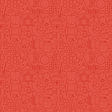 Thin Holiday Line Jewish New Year Red Seamless Pattern