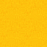 Thin Holiday Line Oktoberfest Yellow Seamless Pattern