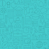 Thin Line Back to School Learning Seamless Blue Pattern
