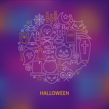 Thin Line Halloween Holiday Icons Set Circle Shaped Concept