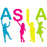 Children holding letters building the word ASIA