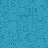 Thin Line Holiday Rosh Hashanah Blue Seamless Pattern