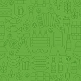 Thin Line Oktoberfest Holiday Seamless Green Pattern