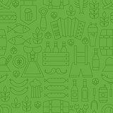 Thin Line Oktoberfest Holiday Seamless Green Pattern