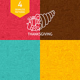 Thin Line Thanksgiving Day Holiday Patterns Set