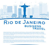 Outline Rio de Janeiro skyline with blue buildings and place for
