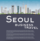 Seoul skyline with grey building, blue sky and copy space