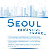 Outline Seoul skyline with blue building and copy space