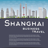 Shanghai skyline with grey skyscrapers and copy space