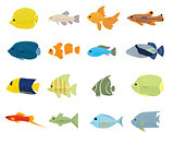 Set of Tropical Fish on white background