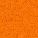 Thin Oktoberfest Line Alcohol Beer Orange Seamless Pattern