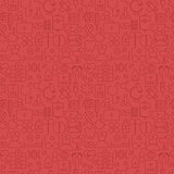 Thin Medical Line Health Care Red Seamless Pattern