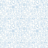 Thin Medical Line Health Care White Seamless Pattern