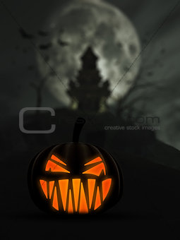 3D Halloween background with scary Jack o Lantern