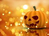 Halloween background with 3D pumpkin and bokeh lights