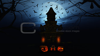 3D Halloween background with pumpkins and spooky castle