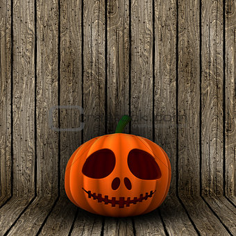 3D Halloween jack o lantern on a wooden background