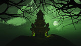 3D background with spooky castle in haunting landscape