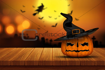3D Halloween pumpkin on a wooden table with defocussed spooky im