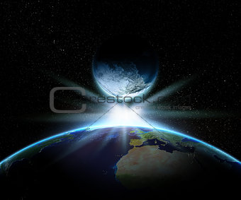 3D Earth and fantasy planet with bright star