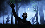 3D zombies in foggy forest