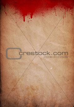 Grunge blood splattered paper background