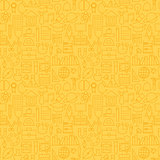 Thin School Line Education Graduation Seamless Yellow Pattern