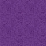 Thin School Line Education Knowledge Purple Seamless Pattern