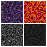 Set of Four Halloween Seamless Patterns