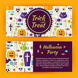 Trick or Treat Halloween Party Flat Style Vector Template Banner