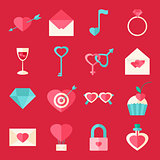 Valentine day flat icons over red