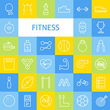 Vector Flat Line Art Modern Fitness Sports and Healthy Lifestyle